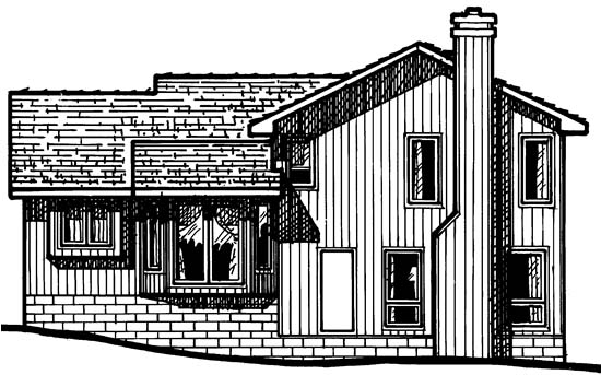 House Plan 68249 | Traditional Style Plan with 1699 Sq Ft, 3 Bedrooms, 3 Bathrooms, 2 Car Garage Rear Elevation