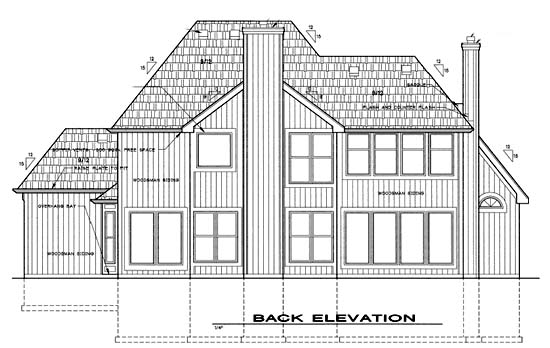 Traditional Rear Elevation of Plan 68253