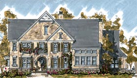 House Plan 68275 | Country European Style Plan with 4532 Sq Ft, 4 Bedrooms, 5 Bathrooms, 3 Car Garage Elevation