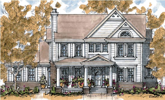 Colonial House Plan 68280 with 4 Beds, 4 Baths, 2 Car Garage Elevation