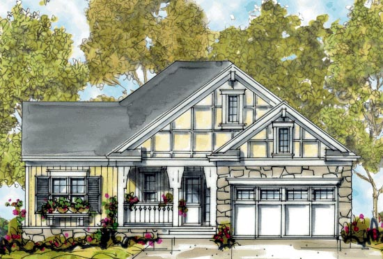 Craftsman One-Story Elevation of Plan 68298