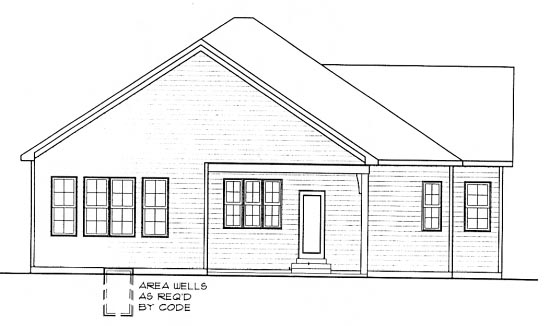 Craftsman One-Story Rear Elevation of Plan 68298