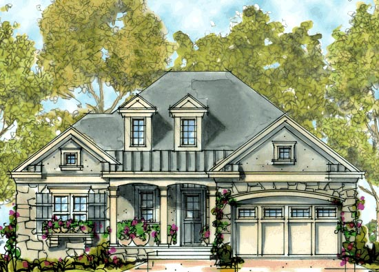 Country, European, One-Story House Plan 68301 with 3 Beds, 2 Baths, 2 Car Garage Elevation