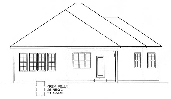 Country, European, One-Story House Plan 68301 with 3 Beds, 2 Baths, 2 Car Garage Rear Elevation