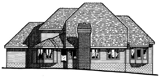 European House Plan 68311 Rear Elevation