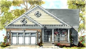 House Plan 68316 | Traditional Style Plan with 1671 Sq Ft, 2 Bedrooms, 2 Bathrooms, 2 Car Garage Elevation