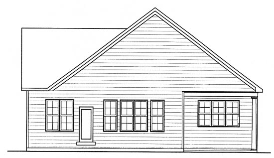 House Plan 68316 | Traditional Style Plan with 1671 Sq Ft, 2 Bedrooms, 2 Bathrooms, 2 Car Garage Rear Elevation