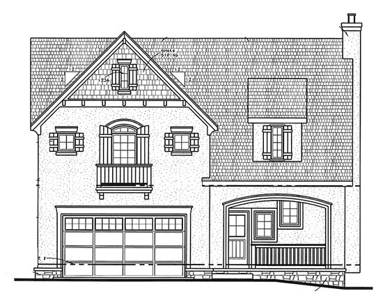 Country, European House Plan 68321 with 4 Beds, 2 Car Garage Elevation