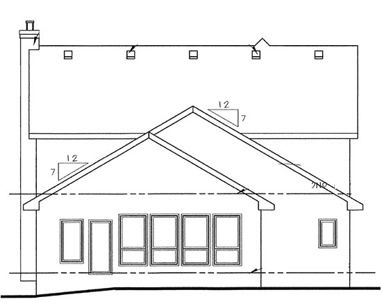 Country, European House Plan 68321 with 4 Beds, 2 Car Garage Rear Elevation
