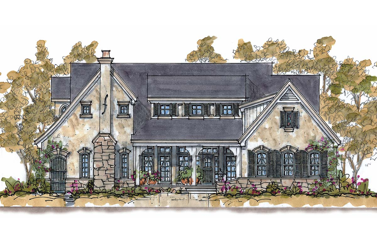 Traditional House Plan 68340 with 4 Beds, 4 Baths, 3 Car Garage Elevation