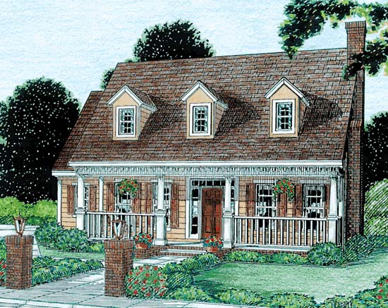 Cape Cod, Country, Southern House Plan 68341 with 3 Beds, 3 Baths, 2 Car Garage Elevation