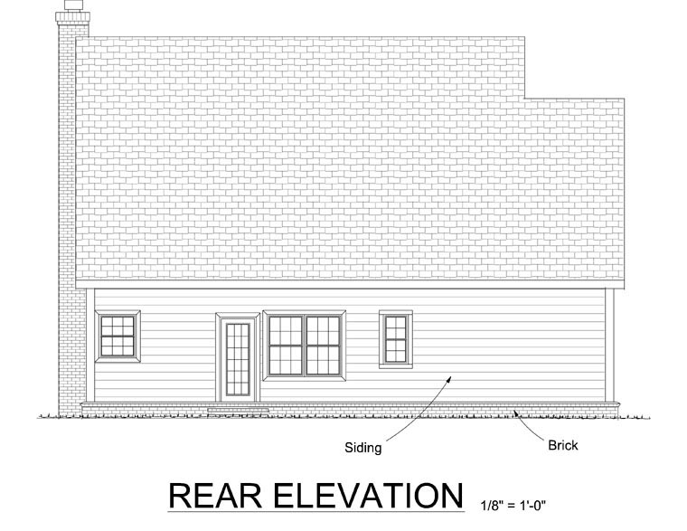 Cape Cod Country Southern House Plan 68341 Rear Elevation
