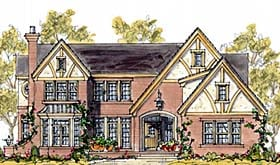 House Plan 68343 | Tudor Style Plan with 3464 Sq Ft, 4 Bedrooms, 4 Bathrooms, 2 Car Garage Elevation