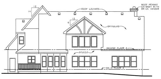 Tudor House Plan 68343 Rear Elevation