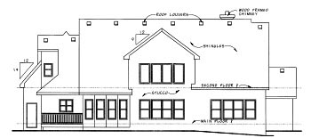 Traditional Rear Elevation of Plan 68344
