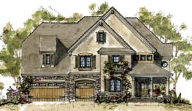 Country House Plan 68345 with 4 Beds, 4 Baths, 3 Car Garage Elevation