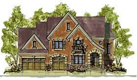 European House Plan 68346 with 4 Beds, 4 Baths, 3 Car Garage Elevation