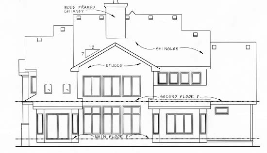 European House Plan 68346 Rear Elevation