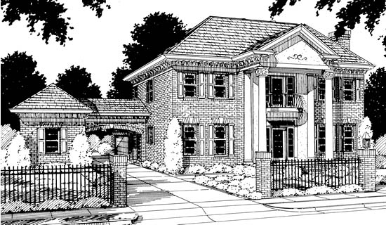 Colonial, Southern House Plan 68349 with 4 Beds , 3 Baths , 3 Car Garage Elevation
