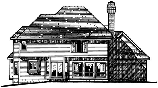 European House Plan 68354 Rear Elevation