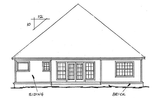 European House Plan 68422 Rear Elevation
