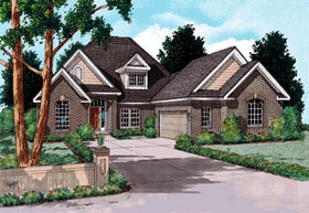 European House Plan 68425 with 4 Beds, 3 Baths, 2 Car Garage Elevation