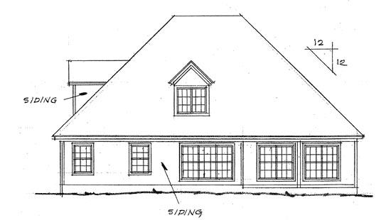 European , Rear Elevation of Plan 68425