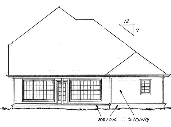 Traditional House Plan 68426 Rear Elevation
