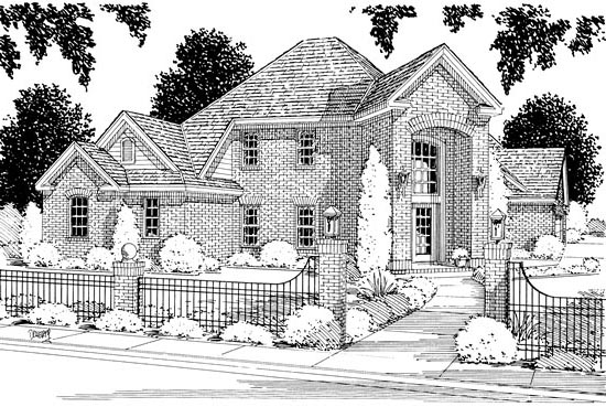 European House Plan 68429 Elevation