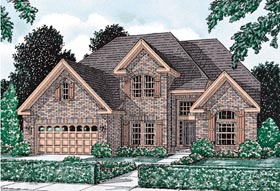 House Plan 68430   European Style Plan with 2755 Sq Ft, 4 Bedrooms, 3 Bathrooms, 3 Car Garage Elevation