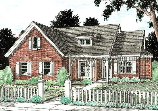 Traditional House Plan 68432 with 4 Beds, 2 Baths, 2 Car Garage Elevation