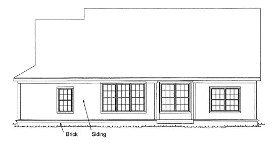 Traditional House Plan 68432 with 4 Beds, 2 Baths, 2 Car Garage Rear Elevation