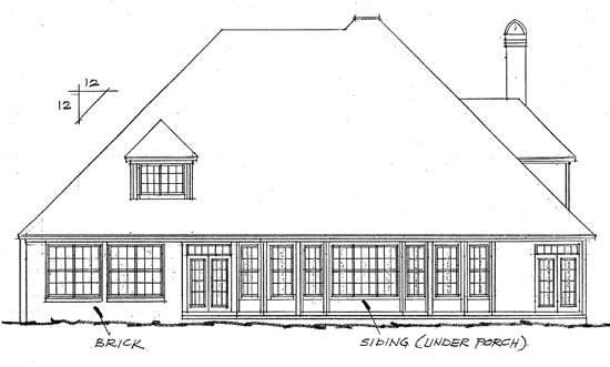 European , Victorian House Plan 68433 with 4 Beds, 4 Baths, 3 Car Garage Rear Elevation
