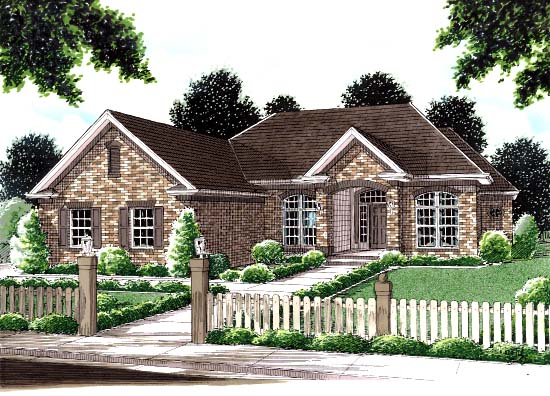 European Traditional House Plan 68434 Elevation