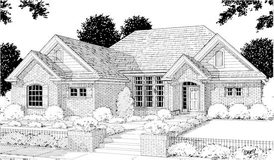 European Traditional House Plan 68437 Elevation