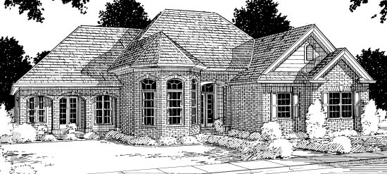 European, Victorian House Plan 68442 with 4 Beds, 3 Baths, 2 Car Garage Elevation
