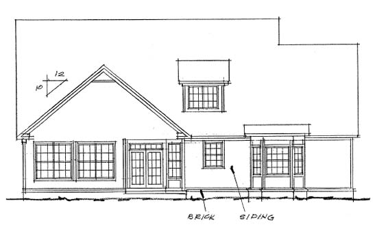 European House Plan 68444 Rear Elevation