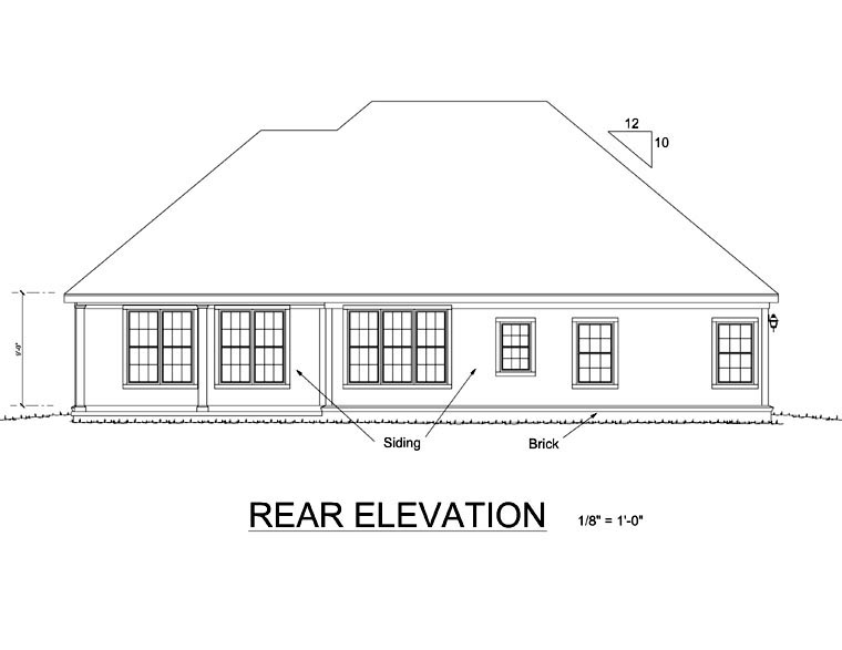 Traditional House Plan 68445 Rear Elevation