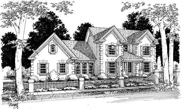 European House Plan 68450 with 3 Beds, 3 Baths, 2 Car Garage Elevation