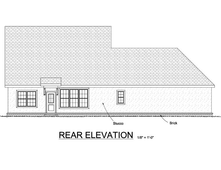 European House Plan 68450 with 3 Beds, 3 Baths, 2 Car Garage Rear Elevation
