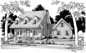 House Plan 68451 | Cape Cod Country Style Plan with 1733 Sq Ft, 3 Bedrooms, 3 Bathrooms, 2 Car Garage Elevation