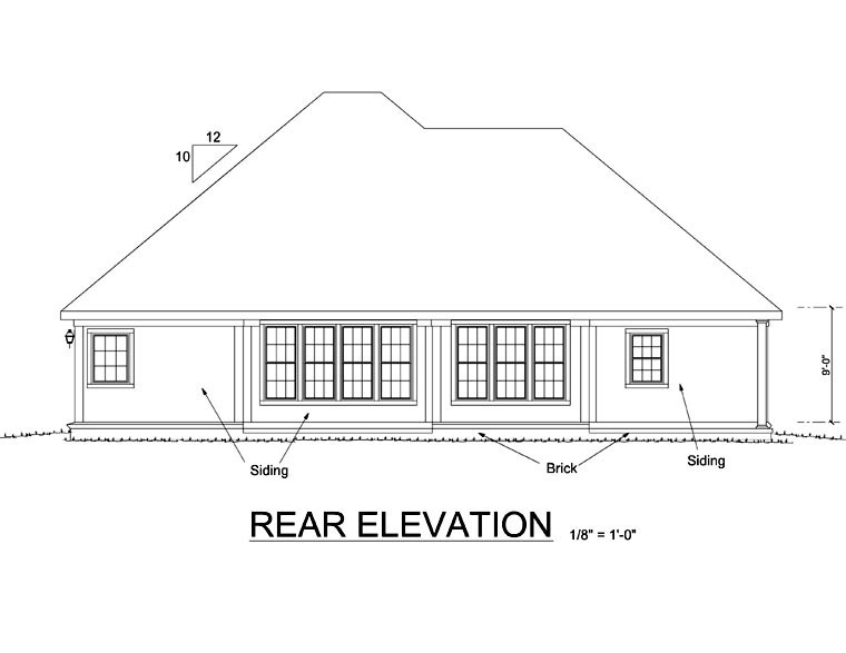 House Plan 68452 | Traditional Style Plan with 1709 Sq Ft, 3 Bedrooms, 2 Bathrooms, 2 Car Garage Rear Elevation