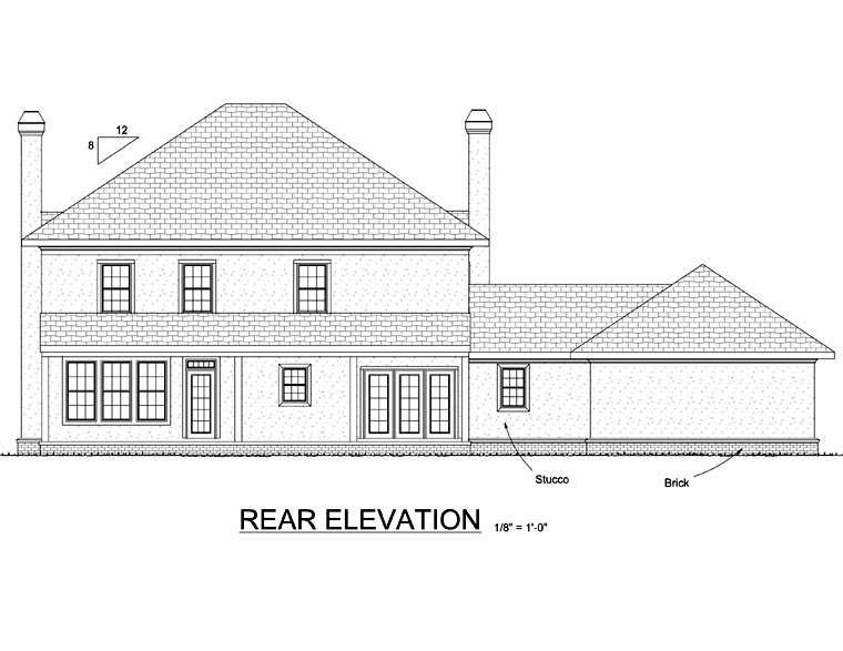 French Country House Plan 68453 with 4 Beds, 4 Baths, 3 Car Garage Rear Elevation
