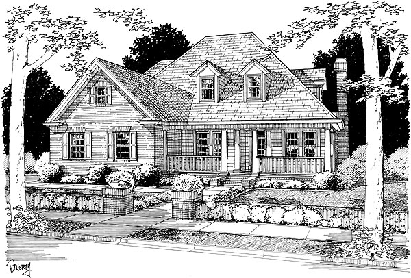 Cape Cod, Traditional House Plan 68458 with 4 Beds, 3 Baths, 2 Car Garage Elevation