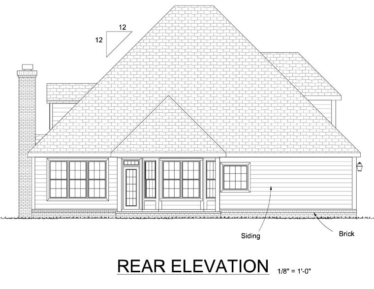 Cape Cod, Traditional House Plan 68458 with 4 Beds, 3 Baths, 2 Car Garage Rear Elevation