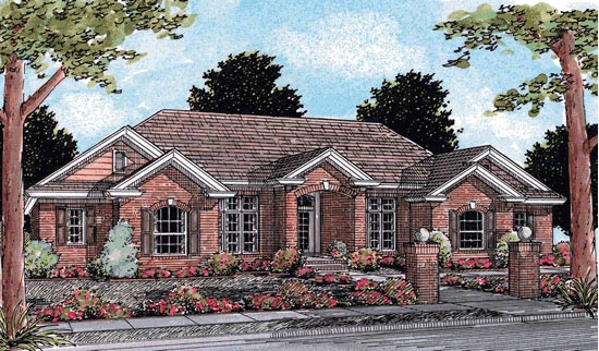European Traditional House Plan 68459 Elevation