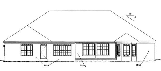European Traditional House Plan 68459 Rear Elevation