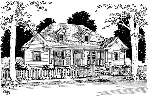 House Plan 68461 | Country Traditional Style Plan with 1498 Sq Ft, 3 Bedrooms, 2 Bathrooms, 2 Car Garage Elevation