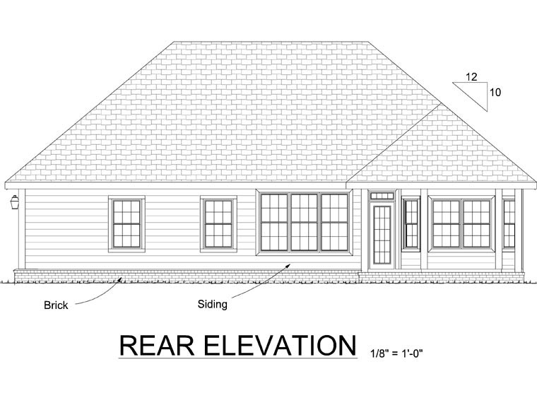 Country, Traditional House Plan 68461 with 3 Beds, 2 Baths, 2 Car Garage Rear Elevation