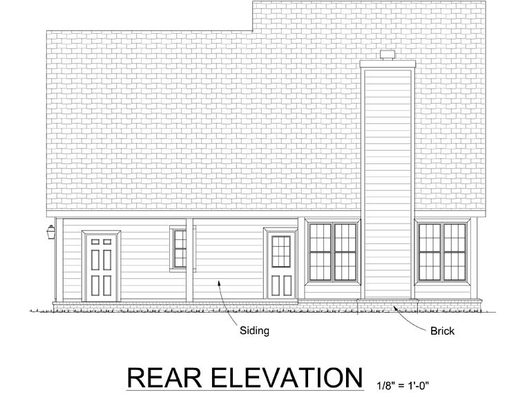 Traditional House Plan 68462 Rear Elevation